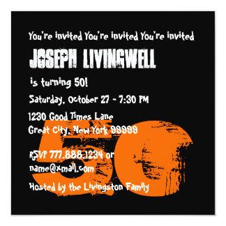 Funny 50th Skull Halloween Birthday Template A08 13 Cm X 13 Cm Square Invitation Card