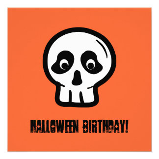 Funny 50th Skull Halloween Birthday Template A08 Personalized Invite