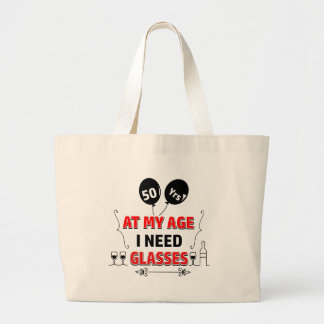 Funny 50th year birthday gift large tote bag