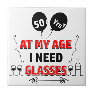 Funny 50th year birthday gift small square tile