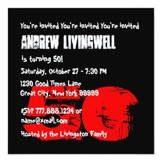 Funny 50th Zebra Skull Birthday Template A09 13 Cm X 13 Cm Square Invitation Card