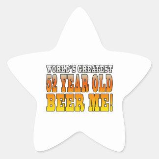 Funny 52nd Birthdays : Worlds Greatest 52 Year Old Star Sticker