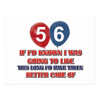 Funny 56 year old birthday postcard