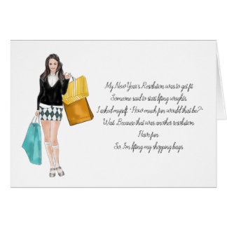 Funny 5 X 7 Greeting Card Shopping Girl