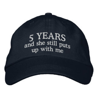 Funny 5th Anniversary Mens Hat Gift Cap Embroidered Hat