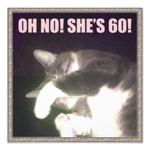 Funny 60th Birthday (Cat) Custom Invites