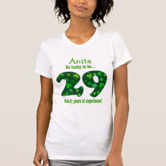 Funny 70th Birthday Shamrock Number Custom Name 4 T-Shirt