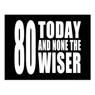 Funny 80th Birthdays : 80 Today and None the Wiser Postcard