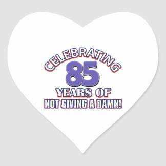 Funny 85th year designs heart stickers