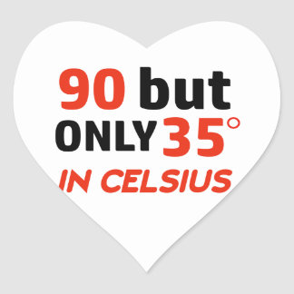 Funny 90th birthday design heart sticker