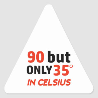 Funny 90th birthday design triangle sticker