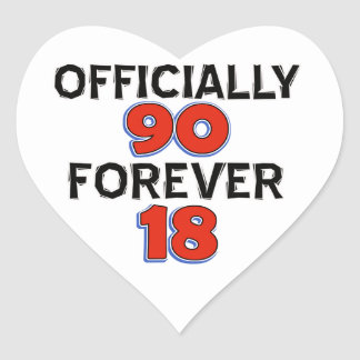 funny 90th birthday designs heart stickers