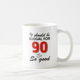 Funny 90th year old birthday designs coffee mug