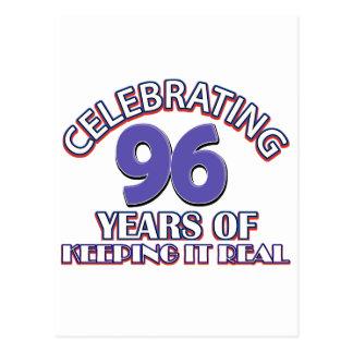 Funny 96th birthday designs postcard