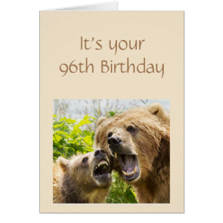 Funny 96th Birthday UnBEARable Song and Dance Card