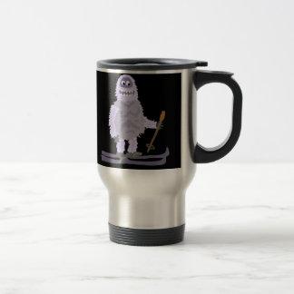 Funny Abominable Snowman Skiing Travel Mug