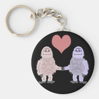Funny Abominable Snowmen in Love Key Ring