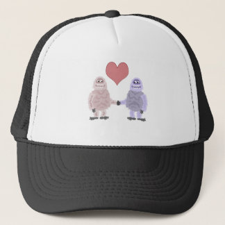 Funny Abominable Snowmen in Love Trucker Hat