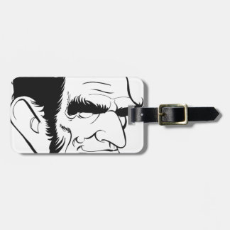 funny abraham lincoln caricature luggage tag