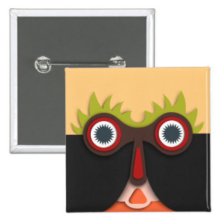 Funny abstract Art Face 15 Cm Square Badge