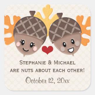 Funny Acorn Couple Favor Square Sticker