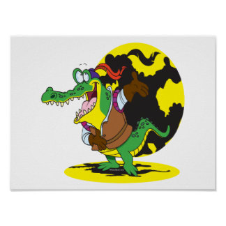 funny actor acting alligator cartoon character poster