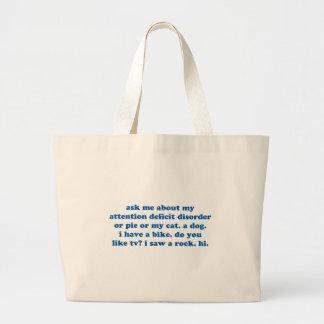 Funny ADD ADHD Quote - Blue Print Jumbo Tote Bag