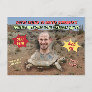Funny Adult Men Birthday Party Custom Turtle Head Invitation Postcard