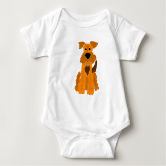 Funny Airedale Terrier Dog Art Baby Bodysuit