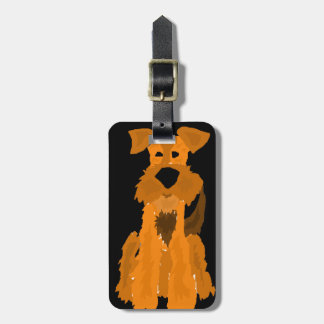 Funny Airedale Terrier Dog Art Luggage Tag