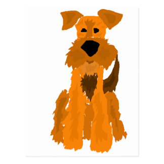 Funny Airedale Terrier Dog Art Postcard