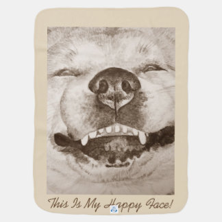 funny akita smiling portrait and slogan design dog baby blanket