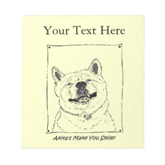 funny akita smiling realist dog portrait art notepad