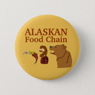 Funny Alaska Souvenir Food Chain Bear and Mosquito 6 Cm Round Badge