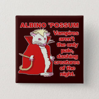 Funny Albino Possum Vampire Animal 15 Cm Square Badge