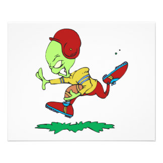 funny alien football player full color flyer