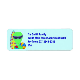 Funny Alien Geeky LGM Beach Vacation Labels