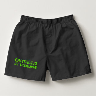 Funny Alien Gift for Men Earthling in Disguise Boxers