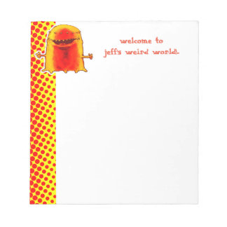 funny alien welcome to weird world cartoon notepad