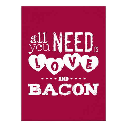 Funny All You Need is Love and Bacon Invites