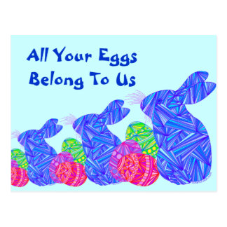 Funny All Your Eggs Blue Easter Bunny Post Card