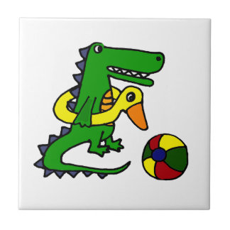 Funny Alligator at the beach Cartoon Ceramic Tile