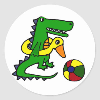 Funny Alligator at the beach Cartoon Classic Round Sticker