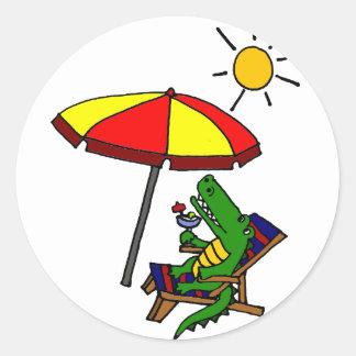Funny Alligator at the Beach Design Classic Round Sticker