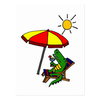 Funny Alligator at the Beach Design Post Card