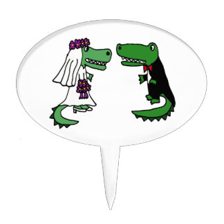 Funny Alligator Bride and Groom Cartoon Cake Toppers