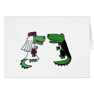 Funny Alligator Bride and Groom Cartoon Greeting Cards