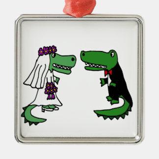 Funny Alligator Bride and Groom Cartoon Metal Ornament