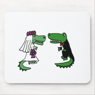 Funny Alligator Bride and Groom Cartoon Mouse Pad