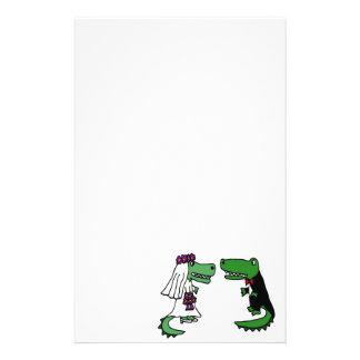 Funny Alligator Bride and Groom Cartoon Stationery Paper